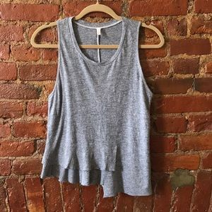 Elevated Basic Tank with asymmetric ruffle